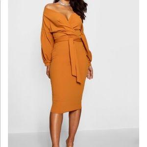 Boohoo Fall Mustard Dress